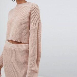 ASOS | Blush Ribbed Knit Cropped Sweater Sz 4 NWT